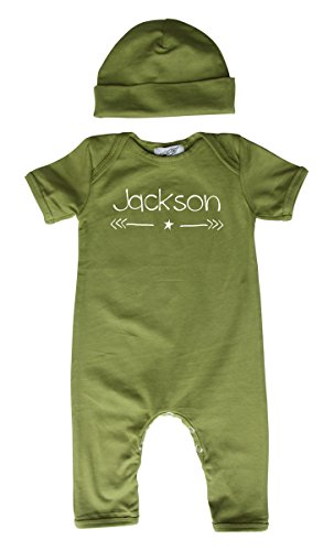 Personalized Rompers with Matching Hat for Boys (3M (0-3 Months), Olive - Personalized Onesie Baby Custom