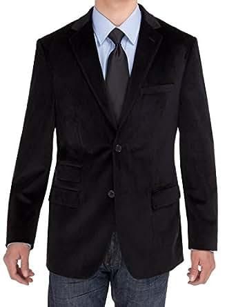 Salvatore Exte Mens Two Button Blazer Modern Fit Velvet Side-Vent Suit Jacket (36 Short US / 46 Short EU, Black)