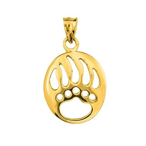 Fine 14k Yellow Gold Cut-Out Bear Paw Charm Pendant