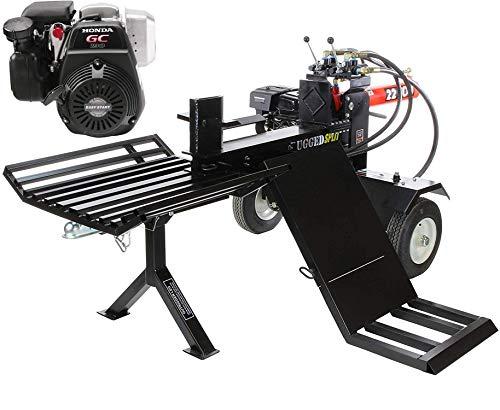RuggedMade 22-Ton Push Through Gas Log Splitter, 301CC Electric Start w/Log Lift & Catcher