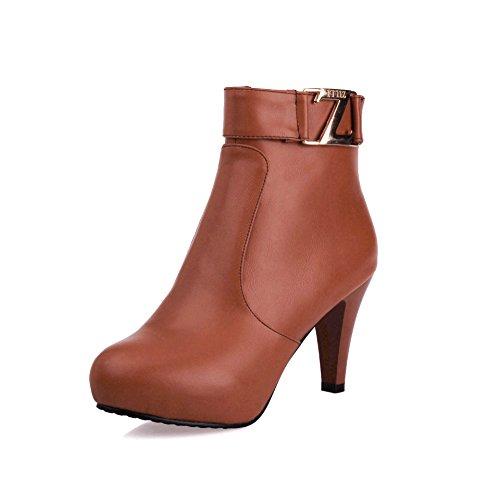 rotonda colori nbsp;Stivali della grandi testa amp;S di fibbia fondo con sicurezza MEI cintura Brown piatto solidi il di scarpe della dimensioni ax1wI15qvn