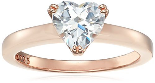Rose-Gold-Plated Silver Heart-Shape (1.5 cttw) Solitaire Ring made with Swarovski Zirconia, Size 6