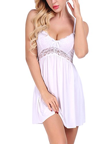 Monrolove Sexy Babydoll Lingerie for Women Lace V Neck Full Slip Nightwear White M by Monrolove