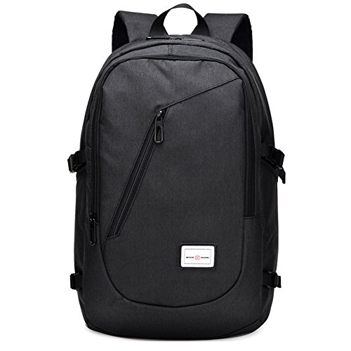 Sechunk Business Water Resistant Polyester Laptop Backpack with USB Charging Port and Lock Fits Under 15-Inch Laptop and Notebook (black)