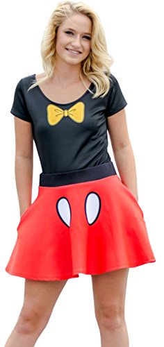Mickey And Minnie Mouse Halloween Costumes Adults (Disney Minnie Mouse Bodysuit and Skirt Costume Set (Adult Large))