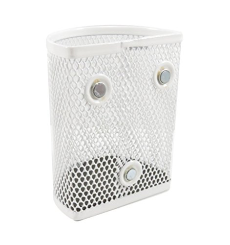 Half Moon Mesh Wire Pen Pencil Holder Magnetic 3.7 x 2.8 White (Set of 2) by Daiso (Image #1)