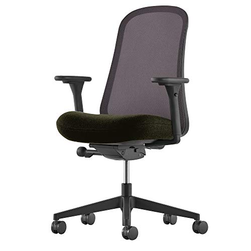 Herman Miller Lino Chair: Fixed Arms and Seat Depth - Black Frame and Base - 2.5 in Standard Carpet Casters - Graphite Back