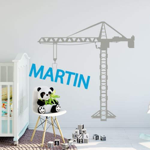 Diuangfoong Boy Name Wall Decal Tower Crane Decal Sticker Custom Name Nursery Decor