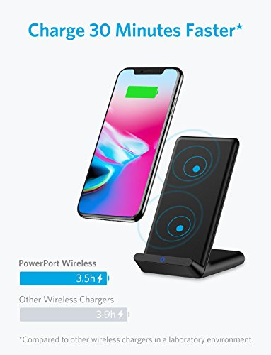 Wireless Charger, Anker Qi-Certified Wireless Charger for iPhone X, iPhone 8/8 Plus, Samsung S9/S9+/S8/S8+/S7/Note 8, and More, PowerPort Wireless 5 Stand (AC Adapter Not Included)