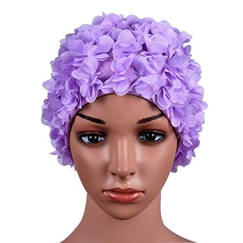 Cisco72 Swim Cap for Long Hair Three-Dimensional Flower Petals Swimming Cap Swimming Nylon Cap ()
