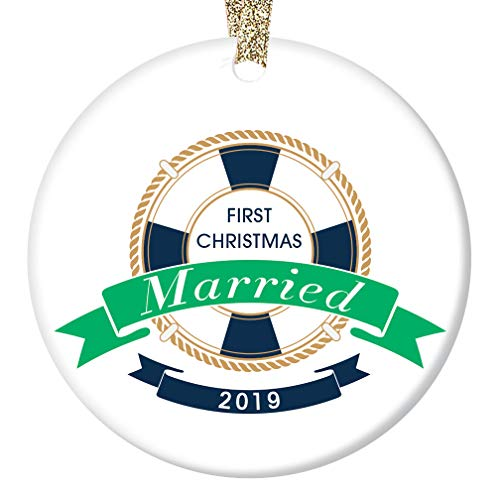 Nautical First Christmas Married Ornament 2019 Mr & Mrs Boating Sailing Ocean Lovers Couple 1st Holiday Husband & Wife Ceramic Keepsake Present 3
