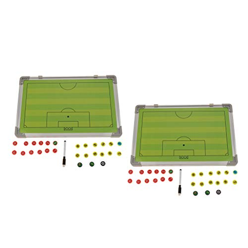 DYNWAVE Set of 2, Dual-Sided Coaches Boards/Dry Erase Clipboards for Football Soccer, Magnetic Strategy & Tactic Writing Boards