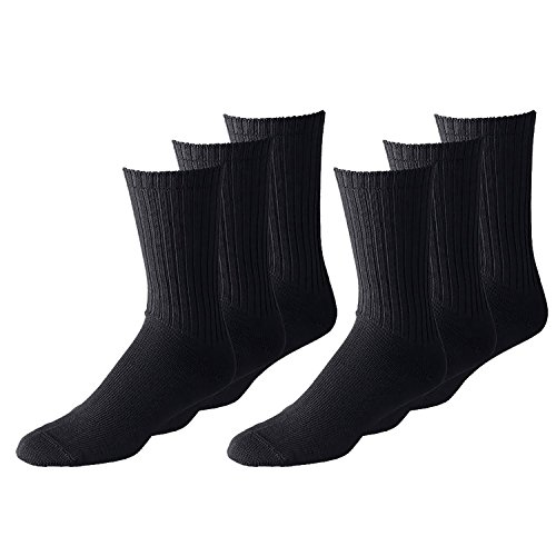 Men's Classic Crew Socks Shoe Size 6 to 12 in Black and White - Bulk Wholesale Packs (12 Pairs, Black)