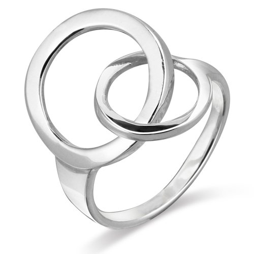 Sterling Silver Contemporary Style Double Circles O Ring - Size (Contemporary Sterling Silver Rings)