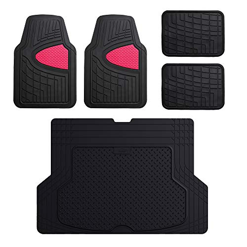 FH Group F11311 Premium Tall Channel Rubber Floor Mats, Pink/Black Color w. F16406 Premium Trimmable Black Rubber Cargo Mat ()