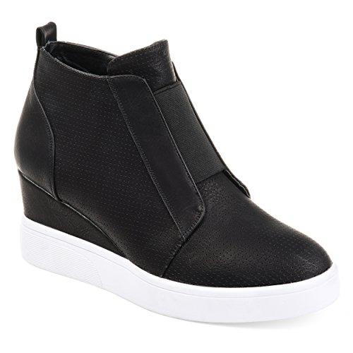 Journee Collection Womens Athleisure Laser-Cut Side-Zip Sneaker Wedges Black, 7 Regular US