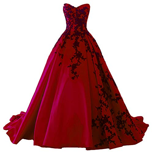 (Beaded Gothic Black Lace Long Ball Gown Satin Prom Evening Dress Wine Red US 8)