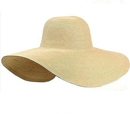Puissant Fashion Women's White Hat Summer Black Oversized Sunbonnet Beach Cap Women's strawhat Sun Hat Summer (Black Oversized Sombrero Hat)