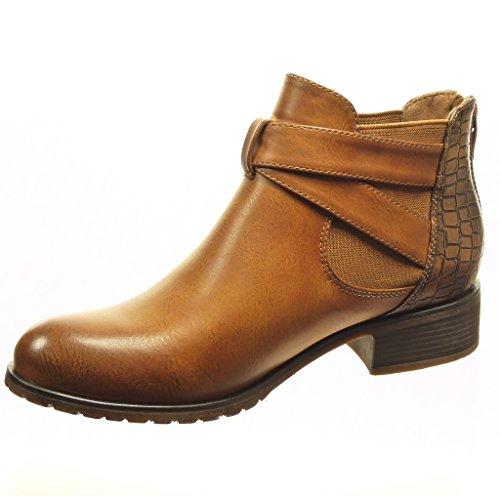 Angkorly - Zapatillas de Moda Botines chelsea boots mujer piel de serpiente tanga Hebilla Talón Tacón ancho 3 CM - plantilla Forrada de Piel - Camel