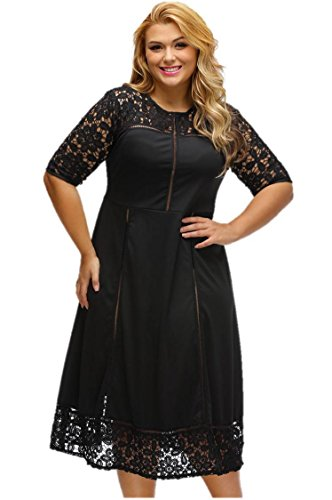Designer97 Fashion Elegant Women's Round Neck Half Sleeve Sexy Lace Stitching - Elegant Sleeve Half