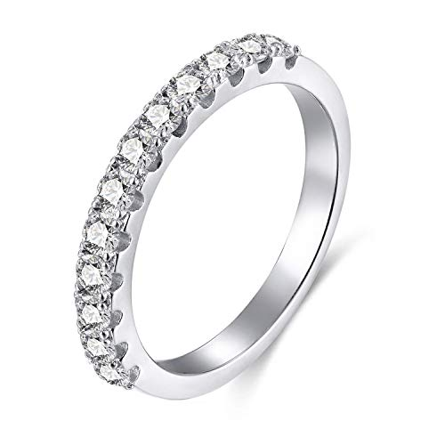 Eternity Wedding Ring - EAMTI 2mm 925 Sterling Silver Wedding Band Cubic Zirconia Half Eternity Stackable Engagement Ring Size 3-12 (Silver-3mm, 10)