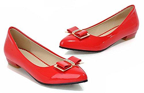Aisun Womens Carino Antiscivolo Professionale Da Lavoro Da Ufficio Low Cut A Punta Svasata Slip On Flats Scarpe Con Fiocchi Rossi