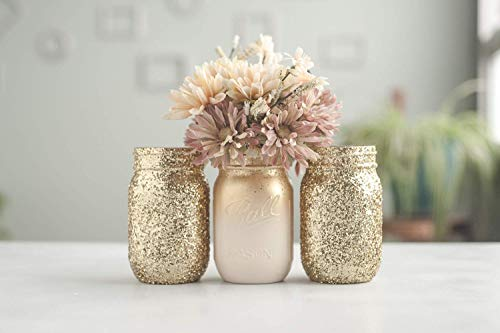 3 Gold Vase Glittered Mason Jar Centerpiece, Bridal Shower, Weddings