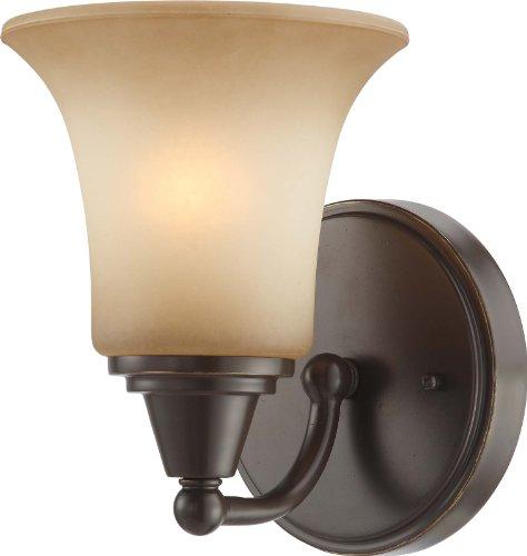 Nuvo Lighting 60/4161 One Light Surrey Vanity with Auburn Beige Glass, CUL Damp Location, Vintage Bronze