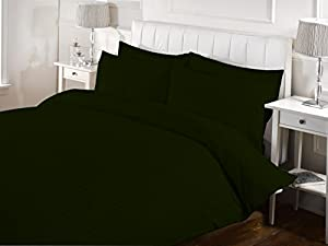 5 Piece Striped Duvet Cover Set With Zipper & Corner Ties 1000 Thread Count 100% Egyptian Cotton Hypoallergenic (1 Duvet Cover 4 Pillow Shams) ( Twin/TwinXL, Moss ) by BED ALTER