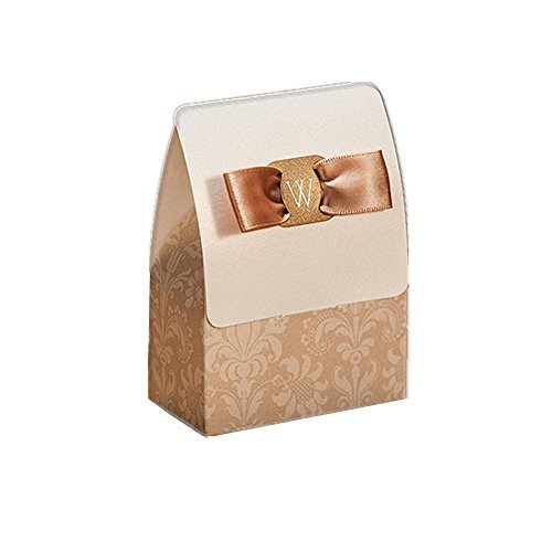 Chocolate Brown Gift Boxes - SogYupk 30 Sets Gold And White Wedding Party Favors candy box Packaging Laser Cut Chocolate Gift Fashion Brown Ribbon Fancy Treat Bags Paper
