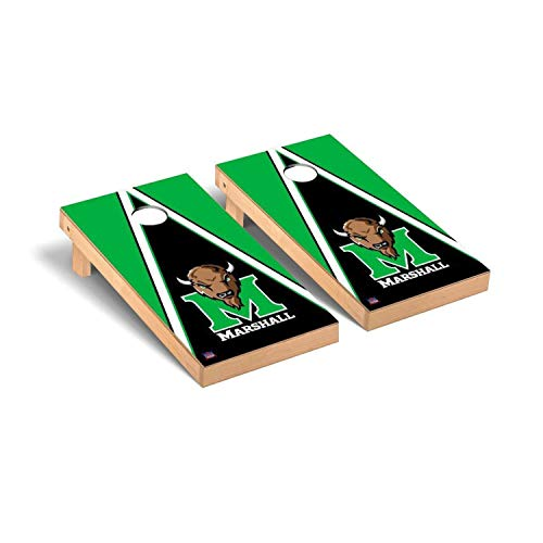 Victory Tailgate Regulation Collegiate NCAA Triangle Series Cornhole Board Set - 2 Boards, 8 Bags - Marshall Thundering Herd