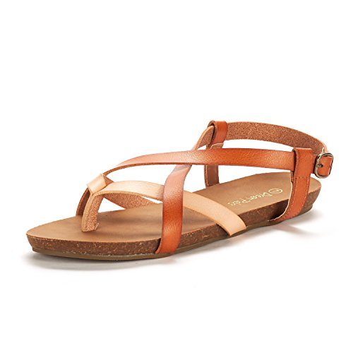 DREAM PAIRS Women's Bold_01 Nude/TAN Fashion Sling Back Flat Sandals Size 7.5 M - Fashion Sandal Leather