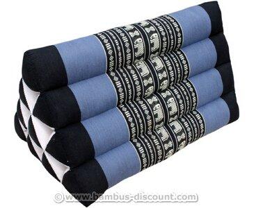 Dreieckskissen mit schwarz blauen Farbdesign, mit 30x30x50cm - Thaikissen, Thai Kissen, Thaimatte, Dreieckskissen