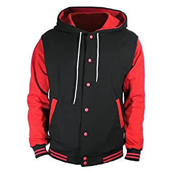 U World Men S Cotton Hoodie Varsity Baseball Jacket Red At Amazon