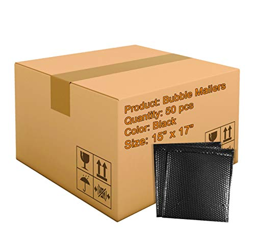 50 Pack Metallic Bubble mailers 15 x 17. Black Padded envelopes 15x17. Large Glamour Bubble mailers. Peel and Seal. Padded mailing envelopes for Shipping, Packing, Packaging.