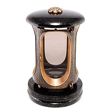 Afterglow Stilvolle Grablaterne Elégant Granit Schwedisch Black Höhe 23 cm/Ø 14,5 cm Grableuchte Grablicht Grablampe Granitla