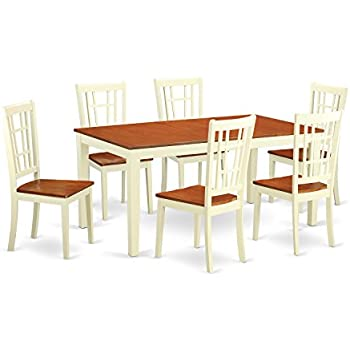 East West Furniture NICO7 WHI W 7 Piece Dining Table Set Buttermilk Cherry Finish