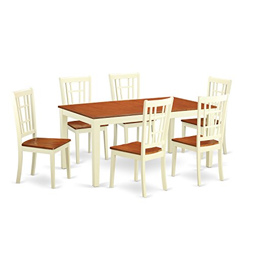 East West Furniture NICO7-WHI-W 7-Piece Dining Table Set, Buttermilk/Cherry Finish