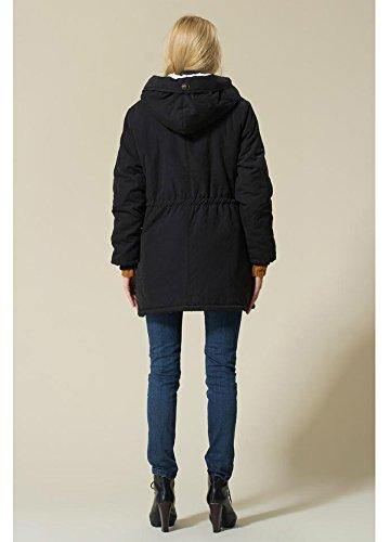 Eleter Women's Winter Warm Coat Hoodie Parkas Overcoat Fleece Outwear Jacket With Drawstring (3XL,Black)