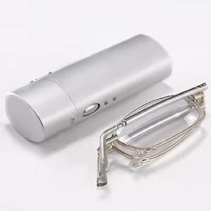 Optical Folding Foldable Silver Full Frame Rim Reading Glasses Eyeglasses Eyewear + Protable Travel Flip Top Protective Case +1.00 (+2.00, Pack of 1)