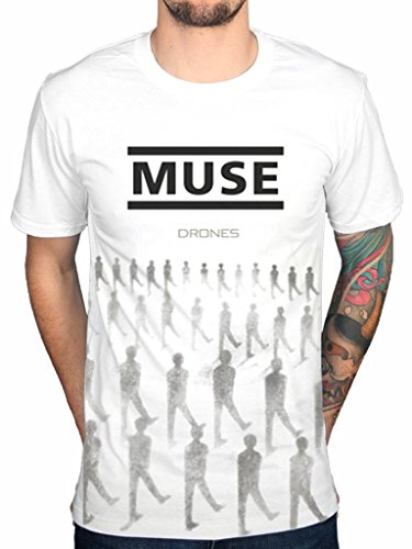 Official Muse Drones T-Shirt Band Absolution Rock 2nd Law Origin Symmetry White