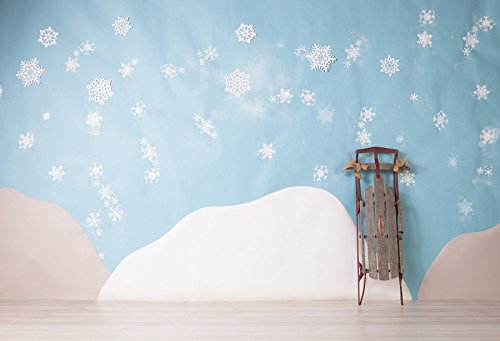 (Leyiyi 7x5ft Vinyl Photography Background Snowflake Blue Backdrop Wooden Sleigh Mountain Cartoon Wooden Floor Birthday Party Baby Shower Winter Holiday Child Photo Portrait Studio Video Shooting Prop)