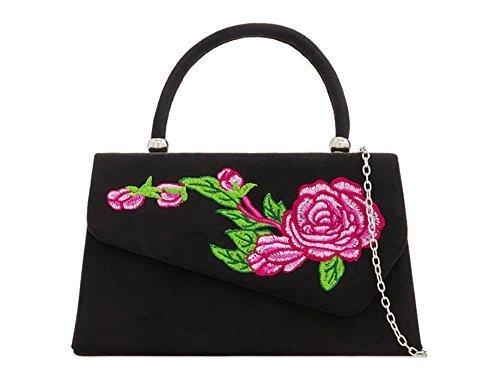 Women's Suede Black Retro Evening Handle Floral Clutch Bag Embroidery Top Faux 7p7rRq