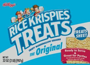 32oz Kellogg's Rice Krispies Treats Original Fun Sheet, Crispy Marshmallow, Large, Pack of 1 (Crispy Rice Treat)