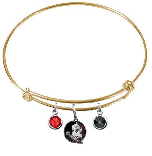 Florida State Seminoles New Logo GOLD Expandable Wire Charm Bracelet Bangle w/ Team Color Crystals