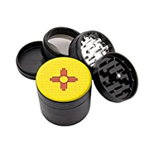 New Mexico Flag Design Micro Crusher 56mm Grinder With Scraper & Velvet Pouch # 111915-31
