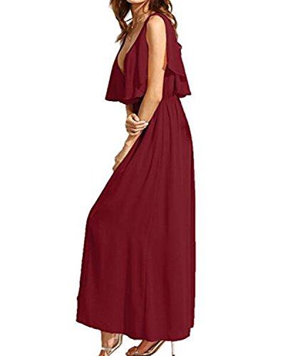 Sexy Et bordeaux Longue Fine Robe Fluide Cocktail Femme Bretelle Z de V Plage Col Kidsform Uni Soire qXaRPxw5