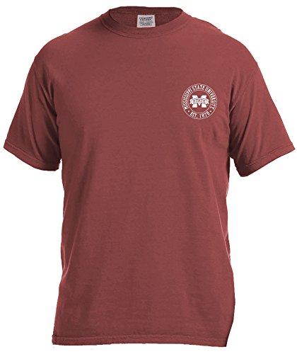 NCAA Mississippi State Bulldogs Campus Building Short Sleeve Comfort Color Tee, Medium,Brick