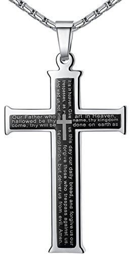 Men's Stainless Steel Lord's Prayer Cross Pendant Necklace, Black Color, 23