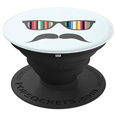 Mustache Light Blue Rainbow Funny Phone Grip - PopSockets Grip and Stand for Phones and -